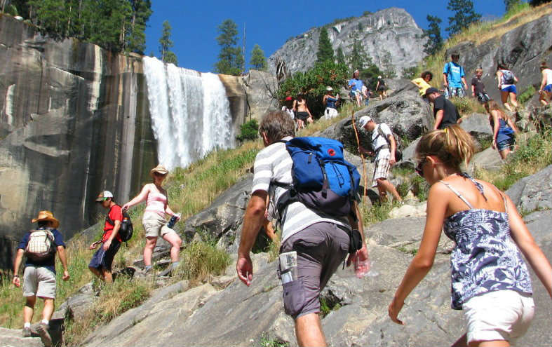 hikers hiking to vernal fall from yosemite valley