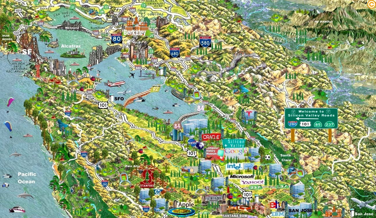 Mapa de Silicon Valley Mapa del valle silicon