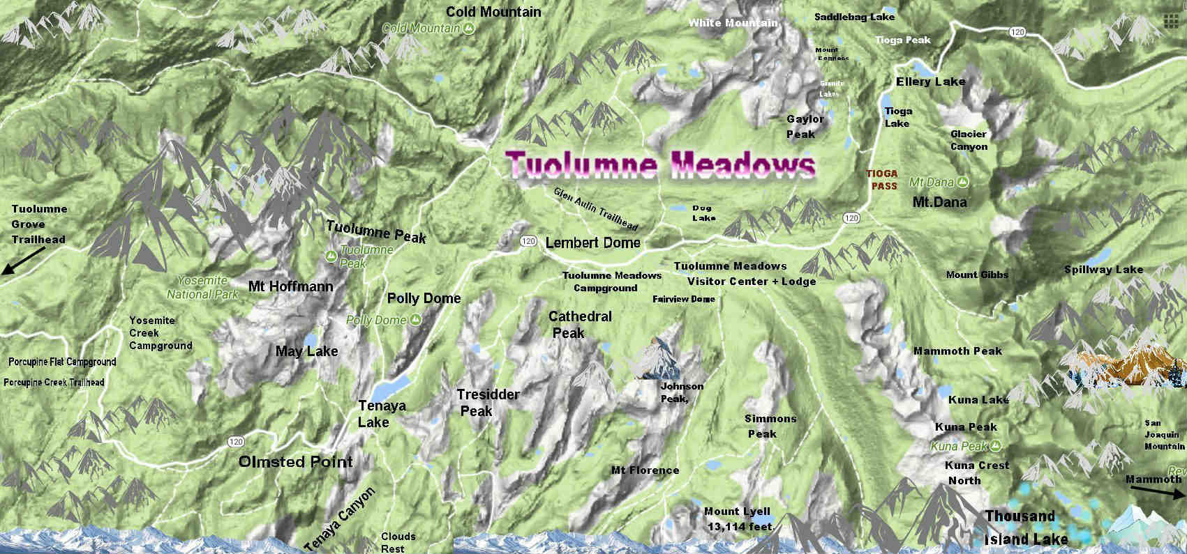 Map Tuolumne Meadows hike maps 1